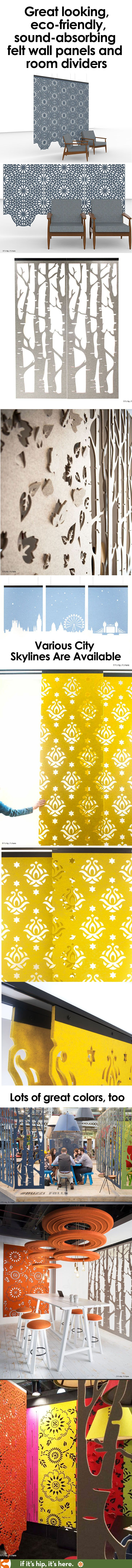 Need a good looking way to keep the sound down in your rooms or office? These sound-dampening wall panels and room dividers are a great solution. Learn more at  http://www.ifitshipitshere.com/buzzifalls-sound-absorbing-felt-room-dividers/