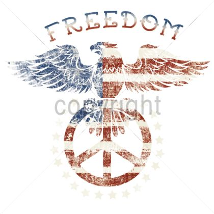 (14065) 14x13  - FREEDOM - PEACE SIGN/EAGLE - Patriots eagles peace signs red white blue patriotic, Plastisol Transfer, Patriotism