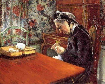 Gustave Caillebotte (French Impressionist Painter, 1848-1894) Portrait of Madame Boissiere Knitting 1877