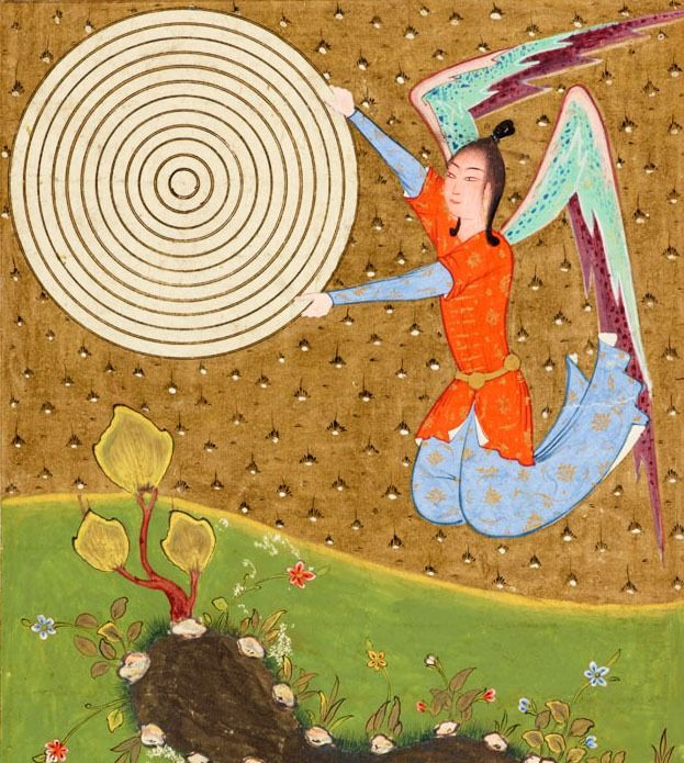 """Guardian of the Kingdoms of God. This is just spectacular. From a copy of the Persian version of Qazwini's ʻAjā'ib al-makhlūqāt wa-gharā'ib al-mawjūdāt, """"The marvels of creation and the oddities of existence"""", commonly known as """"The cosmography of Qazwini"""". 1500s. via"""