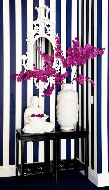 Navy Blue Striped Walls  : ENTRYWAY DECORATING IDEAS: FOYER DECORATING IDEAS: HOME DECORATING IDEAS