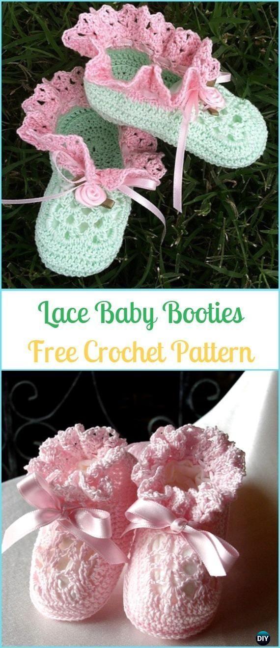 Crochet Lace Baby Booties Free Pattern-#Crochet Ankle High Baby #Booties Free Patterns #CrochetBaby