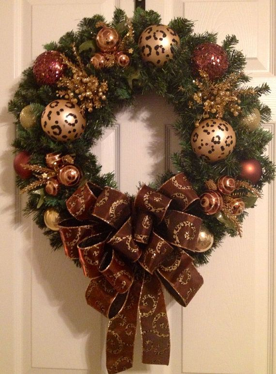 Animal print/leopard print Christmas wreath by Enywear on Etsy, $63.50