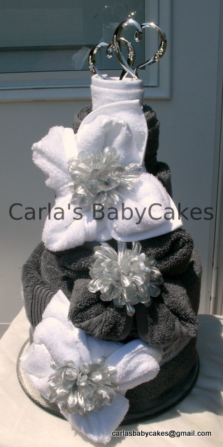 Bridal Shower Towel Cake  Or Wedding Towel Cake  2 bath towels, 2 hand towels, 6 washcloths, cake topper