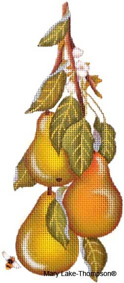 Melissa Shirley Designs | Hand Painted Needlepoint | Pears © Mary Lake Thompson