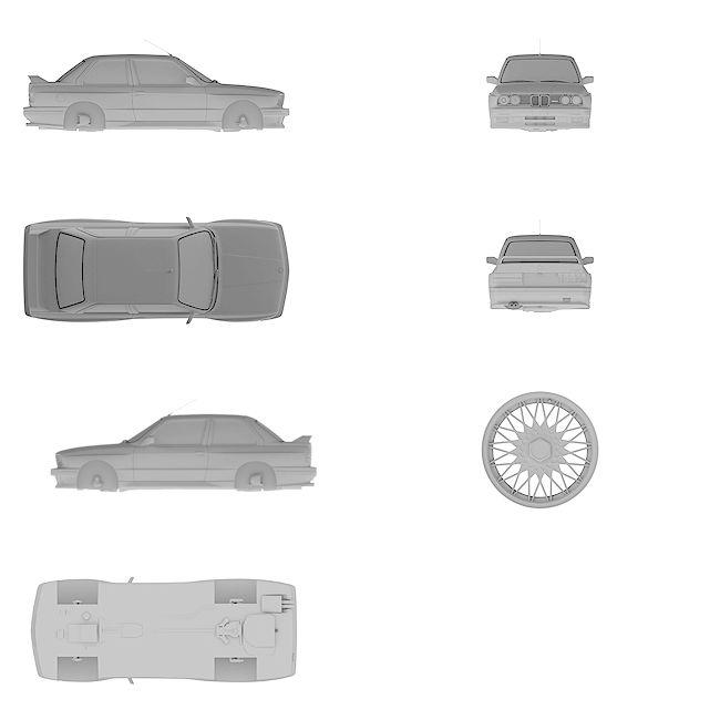 4k Ultra HD high resolution blueprint of BMW | M3 E30