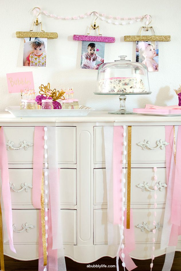 Dress-up party in white, pink, and gold - so sweet!