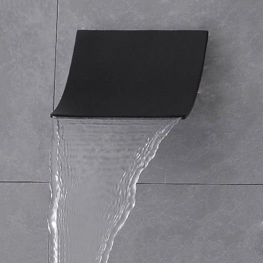 Modern Stylish Wall Mount Stainless Steel Waterfall Shower Head Finished in Matte Black