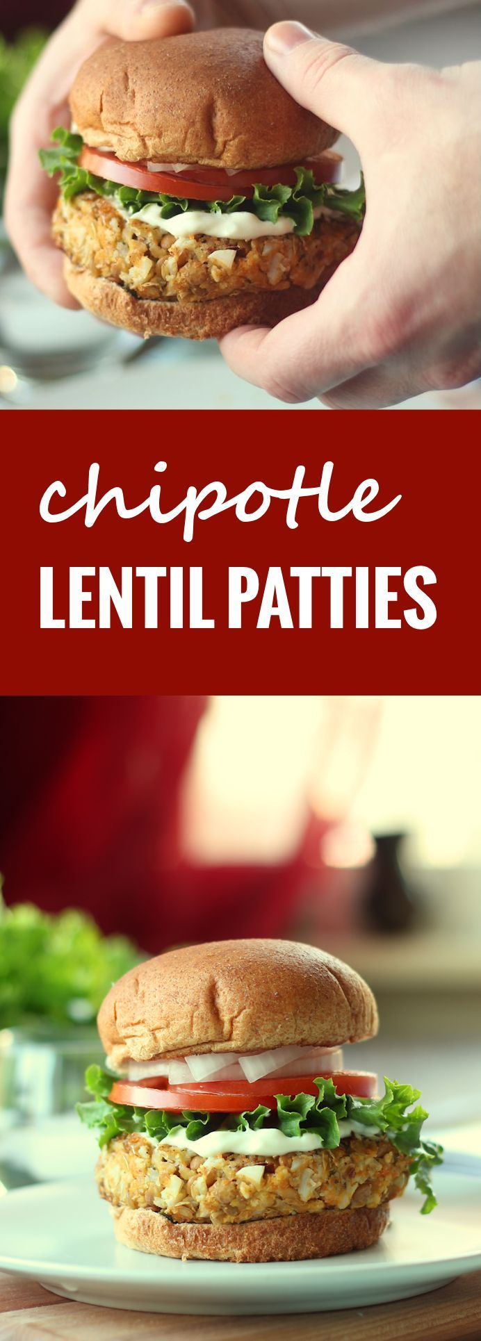 These hearty lentil patties from the Make Ahead Vegan Cookbook are seasoned up with spicy, smoky chipotle peppers.