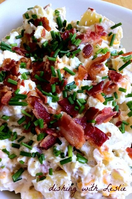 Dishing With Leslie: Loaded Baked Potato Salad: Sour Cream, Baked Potato Salads, Side Dishes, Bbq Side, Loaded Potatoes, Baking Potatoes Salad, Loaded Baking Potatoes, Recipes Salads, Loaded Baked Potatoes