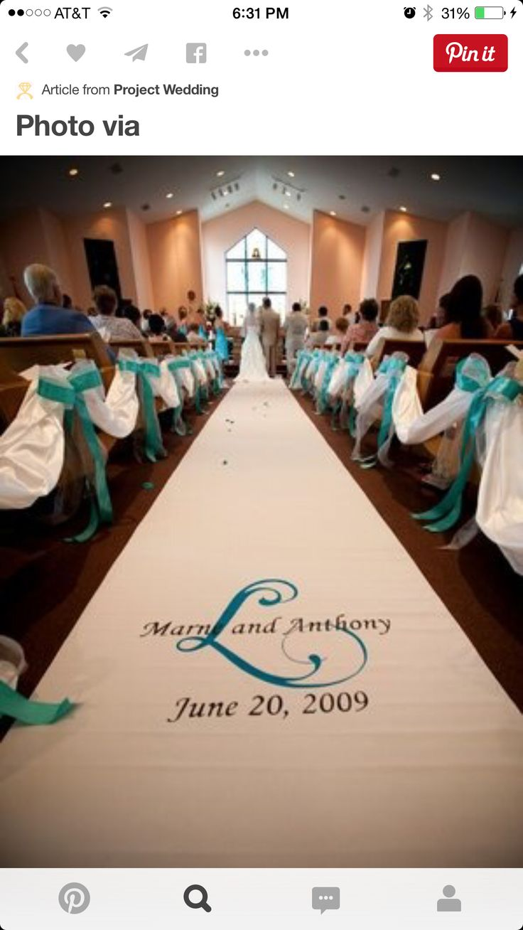 tiffany blue and black wedding decorations%0A Aisle runner ideas  royal blue  feather boas  rose petal initial  Caldwell  Chapel  JMD Photography  Lund Wedding   Epic Lund Wedding   Pinterest    Feather
