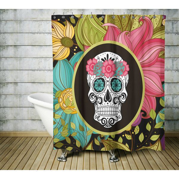 Sugar Skull Shower Curtain Tropical Floral ($60) ❤ liked on Polyvore featuring home, bed & bath, bath, shower curtains, bathroom, grey, home & living, shower curtains & rings, grey shower curtains and flowered shower curtains