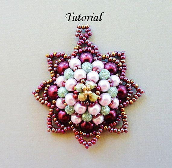 PDF for beadwoven pendant beading  tutorial pattern - beadweaving beaded seed bead jewelry - AVATAR via Etsy