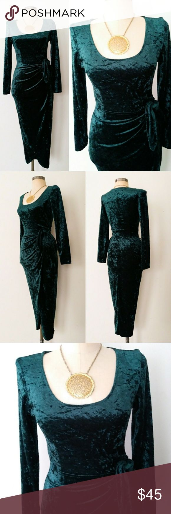 90s Vintage Emerald Green Velvet Sarong Dress Sm Beautiful beautiful vintage 90s emerald green velvet dress. Very figure flattering fit with scoop neckline, long sleeves, and curve-hugging sarong skirt. Excellent condition. Fit for an XS. Vintage Dresses