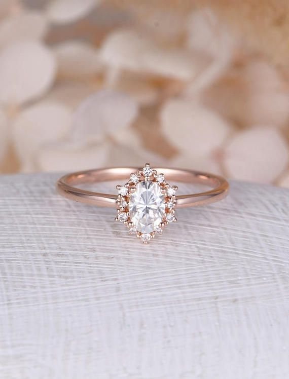 Oval Moissanite engagement ring set Rose gold engagement ring vintage Pear shaped wedding Silver Bridal anniversary gift for Valentine