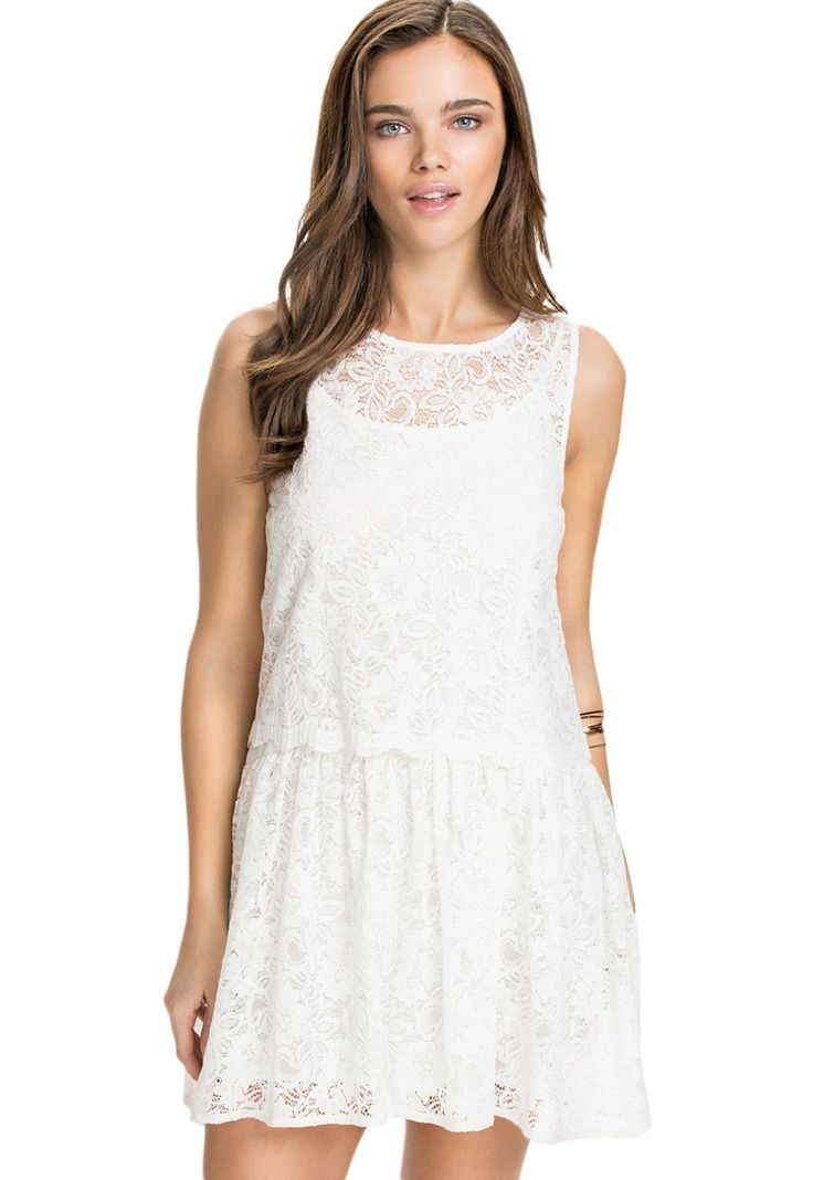 Two In One Lace Overlay Skater Dress modeshe.com