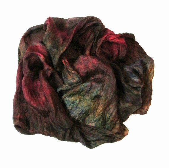 OOAK Silk scarf ruffled Hand Dyed Night Dream by Econicashop