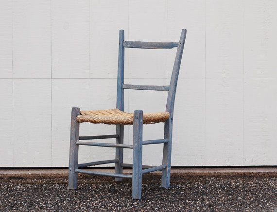 Antique Primitive Ladderback Chair, Circa 1850, Early American Furniture, Farmhouse Wood Chair, Woven Seat, Rustic Chair Cottage Cabin Chair