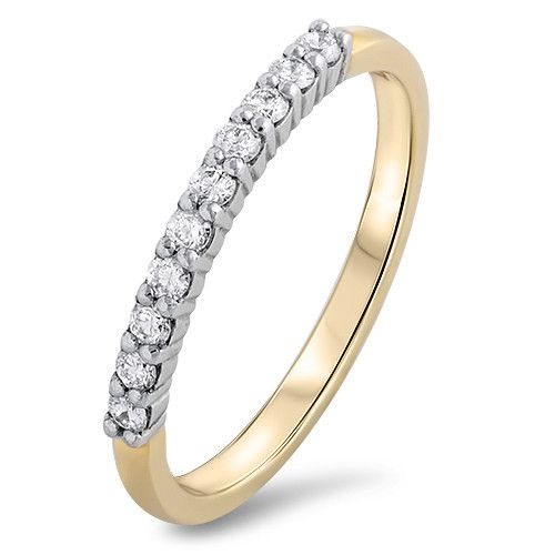 The Neville Jordan Romance Collection. Wedding or eternity ring with 0.25ct total diamonds set in 18ct yellow gold. Designed and made in New Zealand by Neville, exclusively for our store.