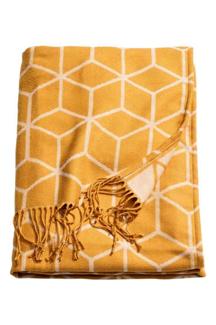 Плед из жаккардовой ткани - Горчичный - HOME | H&M RU 1