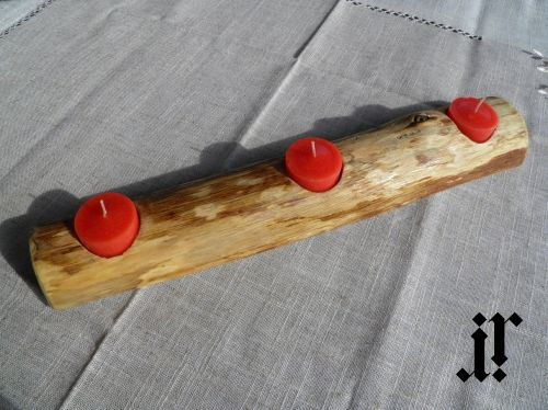 Wood candle holder for 3 tea light candles