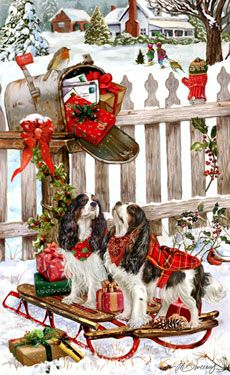 """New for 2011! Cavalier King Charles Christmas cards are 8 1/2"""" x 5 1/2"""" and come in packages of 12 cards. One design per package. All designs include envelopes, your personal message, and choice of greeting. Select the inside greeting of your choice from the menu below.Add your personal message to the Comments box during checkout."""