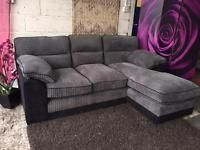 New Corner Chaise Sofa Black And Charcoal Grey Traditional Back Cushions Delivery Available