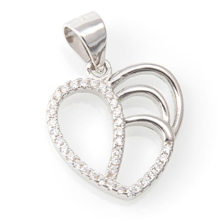 Colgante Plata de Ley con forma de corazon. Perfecto regalo para los enamorados.  Materiales: Colgante Plata de Ley 925 y circonita acabado en Rodio
