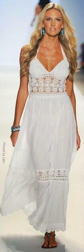Crochetemoda: Vestido com detalhe em Crochet