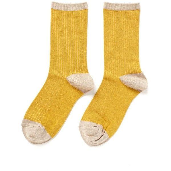 Hansel From Basel Colourblock crew socks ($25) ❤ liked on Polyvore featuring intimates, hosiery, socks, accessories, fillers, shoes, yellow, hansel from basel, crew length socks and crew socks