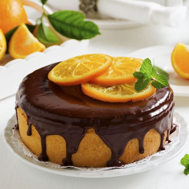 Gâteau à l'orange minute nappé chocolat