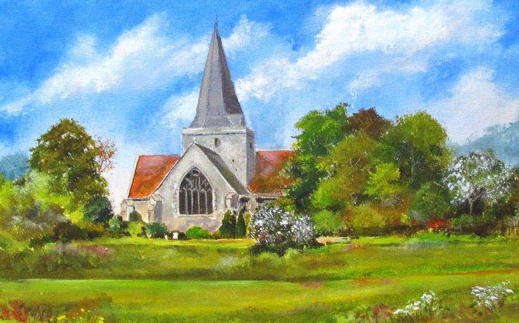"Alfriston Church, East Sussex.  Acrylic. 16"" x 12"""
