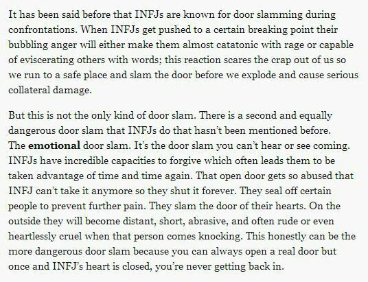 "INFJ ||  ""once our heart is closed, you're never getting back in.""  Never."