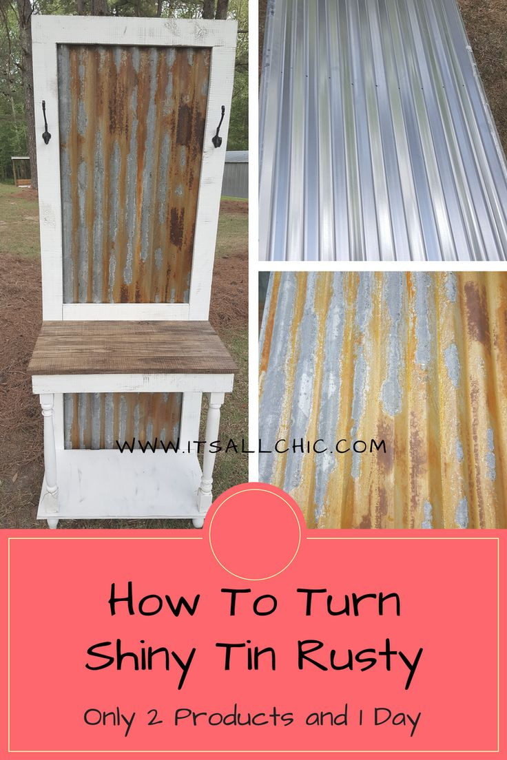 Do you love the look of rusty tin but don't have access to it? Well no worries! I am going to show you how to make shiny new tin look like it just came off of the side of an old barn in only one day. First things first, buy your tin. For my project I needed a big piece…