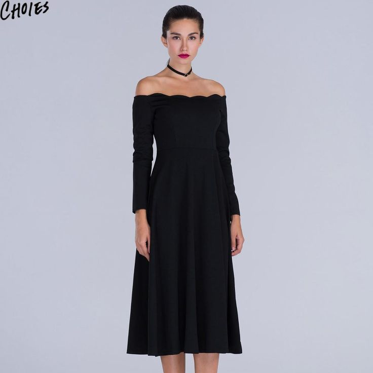 Women Midi Dress Long Sleeve Off Shoulder A Line Casual Sexy Vintage Party Autumn Fall