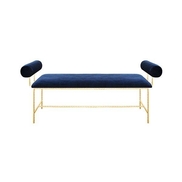 """MILLER GNVY - BOLSTER ARM GOLD LEAF BENCH IN NAVY VELVET    - SEAT HEIGHT 17"""""""