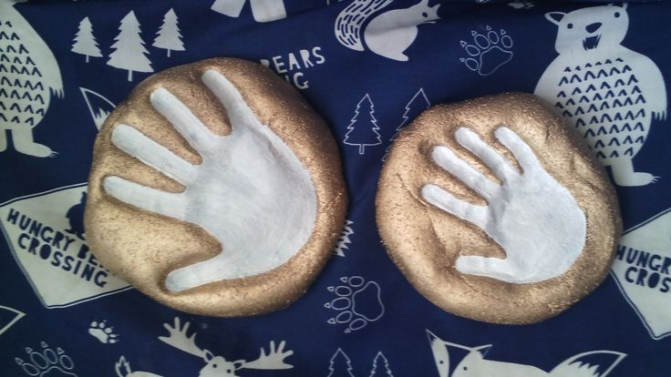My boys hand prints, made with the salt dough recipe. Baked and hand painted.