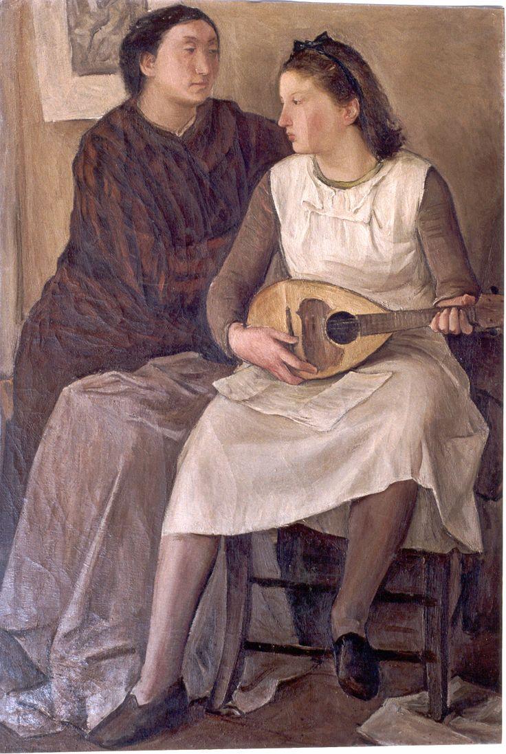 Giovanni Brancaccio (Pozzuoli 1903- Napoli 1975) Giovinetta che suona il mandolino 1937 olio su tela cm140x95 Napoli Coll.Privata