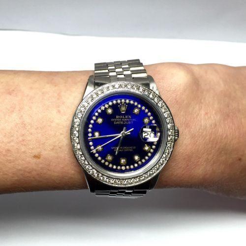 ROLEX OYSTER PERPETUAL DATEJUST Steel Men's Watch 1.5TCW w/ DIAMONDS In Box