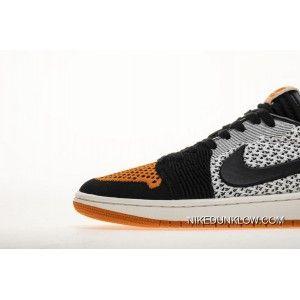320367601314e Air Jordan 1 Low Flyknit Shattered Backboard AJ1 AH4506-100 Sail Starfish- Black White Orange Unisex Skateboarding Shoes Copuon