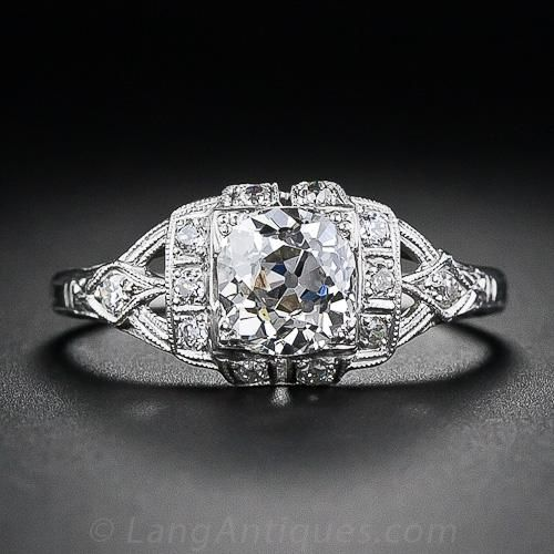 0c6601e9b A sparkling antique diamond weighing just three points shy of one carat and  bearing a GIA report stating J color, VS2 clarity sparkles mightily from  this ...