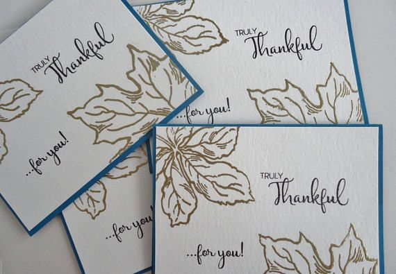 4 Maple leaf cards  Happy Thanksgiving  Gorgeous gold heat