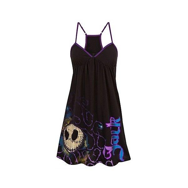 Racerback Jack Skellington Dress (44 CAD) ❤ liked on Polyvore featuring dresses, pajamas, shirts, short dresses, tops, kohl dresses, disney, black cocktail dresses, short black dresses and black mini dress