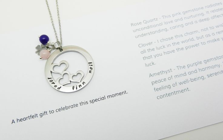 Add charms and gemstones to any piece of jewellery and the meanings are listed on a sentiment card - great when words are difficult or not enough.