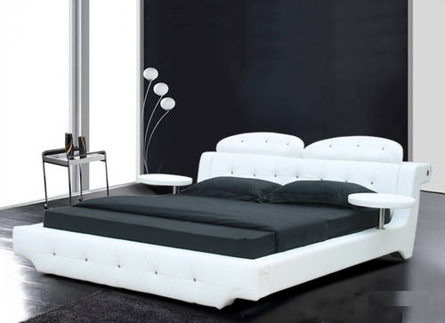 VERONICA Beautiful White Leather Platform Bed LOWEST PRICES