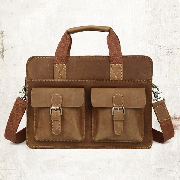 "Image of Distressed Leather Briefcase Messenger Shoulder Bag 14"" Laptop Macbook Bag--FREE SHIPPING"