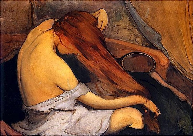 Wladyslaw Ślewiński - Woman Brushing her Hair, 1897 #painting