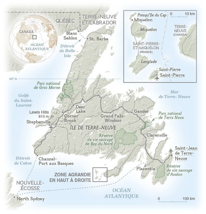 The Canadian island of Newfoundland (Terre-Neuve) and the French territory of Saint-Pierre-et-Miquelon. Map created by Hugues Piolet for the National Geographic Magazine.