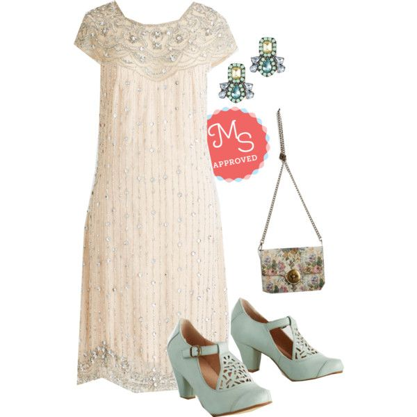 In this outfit: I Bead Your Love Dress, Fascinating Curation Earrings, Herald Your Happiness Bag, Picture of Poetic Heel in Sage #beaded #fancy #formal #bride #bridal #wedding #vintage #prom #ModCloth #ModStylist