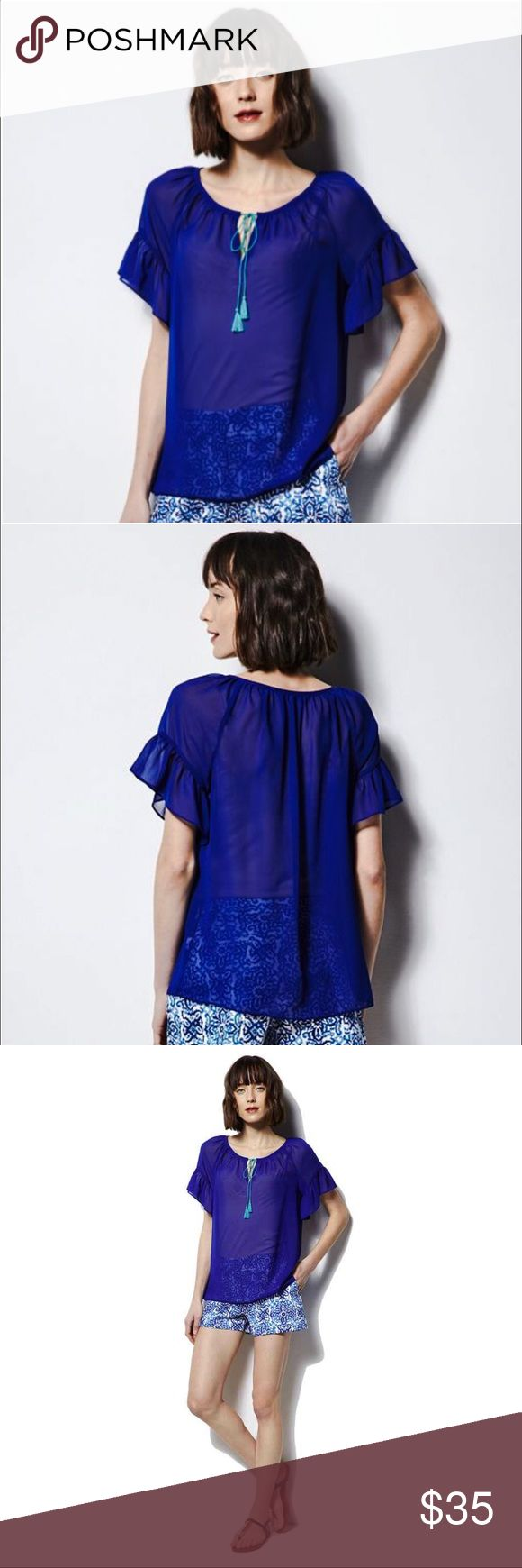 MILLY FOR DESIGNATION BLUE SHEER PEASANT BLOUSE Vibrant colors and impeccable details give this women's MILLY for DesigNation royal blue sheer peasant top Mediterranean style.   Chest (M) (L) Shirred tie-front neckline with tassel accents in aqua Splitneck flowing style Ruffled short sleeves Sheer chiffon construction FABRIC & CARE Polyester Machine wash Milly Tops Blouses